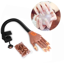 Professional 1 Hand+100 Tips Nail Trainer Tool Adjustable Model Hand Practice DIY Nail Training Manicure Tool