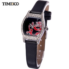 Fashion Time100 Women Quartz Watch Analog Dragon Diamond Dial Black Leather Strap Wrist Watches For Women mujer orologio polso(China)