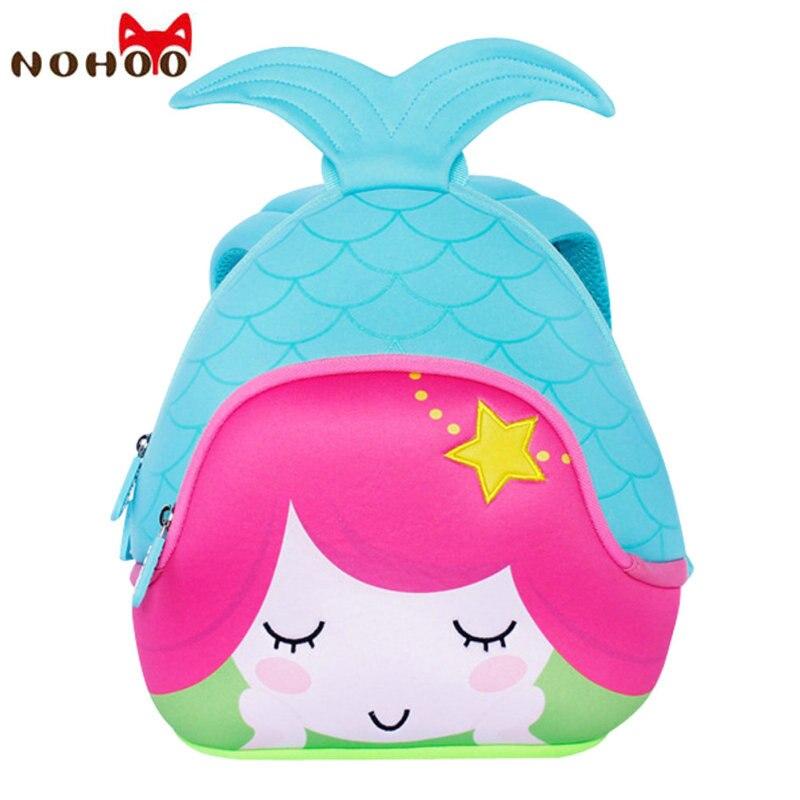 NOHOO Mermaid Kids Baby Bags Waterproof Neoprene Children School Bags For Girls Boys Cartoon Kindergarten Rucksack 2017 New-30<br>