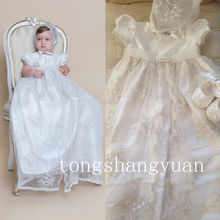 New Girls Baby Baptism Outfits Bead Lace Applique White Ivory Christening Gowns with hat and shoes(China)