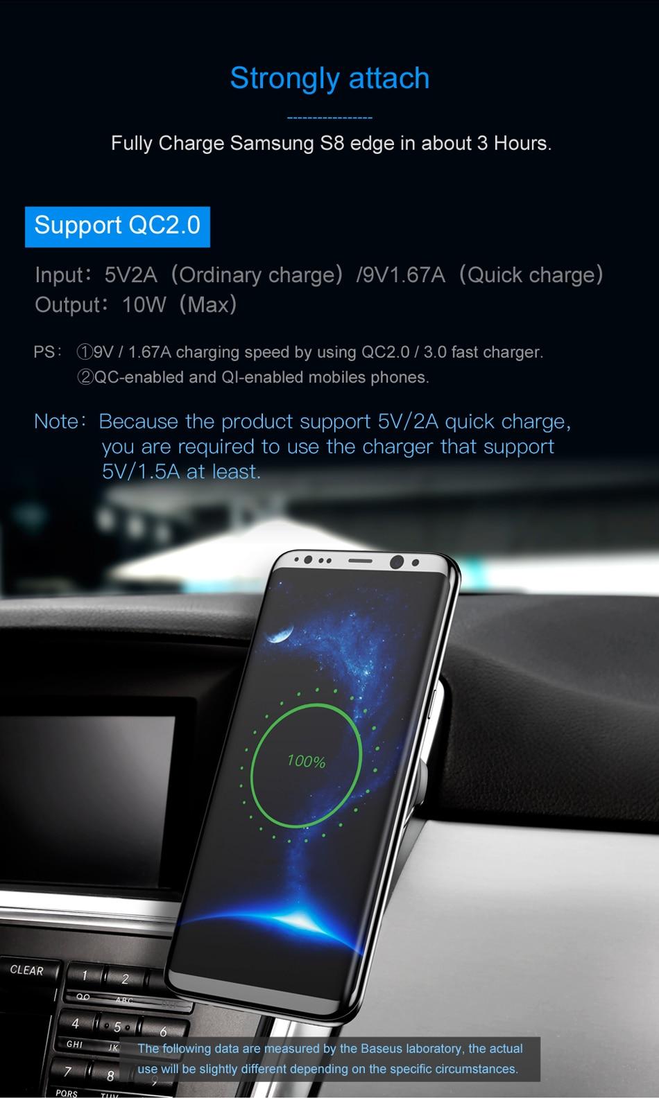 Baseus شاحن سيارة لاسلكي سريع من شركة iPhone X 8 Samsung Note 8 S8 S7 13