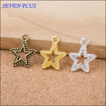 High Quality 50 Pieces/Lot 15mm*17mm Alloy Material Gold Color Hollow Out Star Charms Diy Charm For Jewelry Making