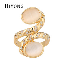 Bottom Price Only 2 Weeks Fashion Rings for Women Natural MoonStone Ring Rhinestone Paved Pure Gold Color bague femme Anel
