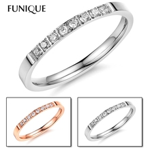FUNIQUE Stainless Steel Zircon Rings For Women With Fashion CZ Stone Bright Sliver Tone Ring Edelstahl Ring Crown In Hot Sale