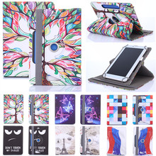 Histers Printed Universal Cover for 7 inch Tablet Acer Iconia Tab A100/A101 360 Degree Rotating PU Leather Stand Case(China)