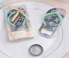 50pcs/lot Free Shipping Flip flop wine bottle opener with starfish design wedding favor guest gift(China)