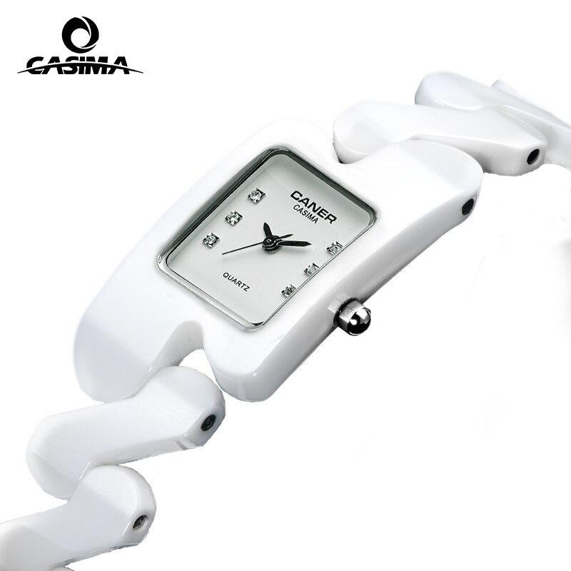 Luxury brand Women watches fashion casual elegant rectangle ceramic White quartz wrist watch Women Waterproof 100m CASIMA #6703<br>