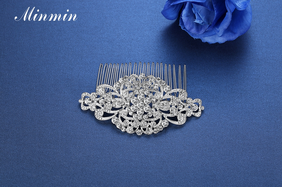 Minmin Floral Crystal Hair Combs Wedding Hair Accessories Hair Jewelry for Women Bridal Hairpins Tiara for Brides FS069 22