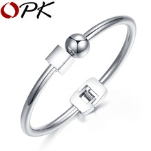 OPK Ball With Cube Design Women's Open Bangle Rose Gold Color / High Polished Stell Color Bracelet Jewelry Gift GH829