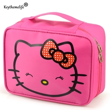 Keythemelife Hello Kitty Bag Travel Cosmetic Oxford Waterproof 24.5*19*10CM Organizer Storage Bags for Make Up Wash Tools FA