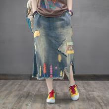 2017 autumn women long denim skirt with pockets casual elastic straight high waist denim maxi skirts jeans stretch plus(China)