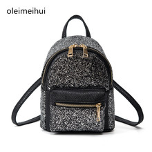 2017 New Arrival Women All-match Bag PU Leather Sequins Backpack Girls Small Travel Princess Bling Backpacks bolsa feminina