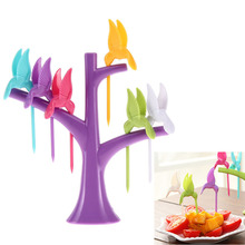 New Home Wall stickers Wall decor DIY posters Fruit Fork + Birds Fork Cutlery Set Plastic 6PCS Modern style