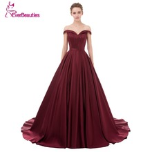 Evening Dress Long 2017 Wine Red Elegant Satin V Neck Prom Party Dresses Evening Gown Abendkleider Abiye Robe De Soiree(China)