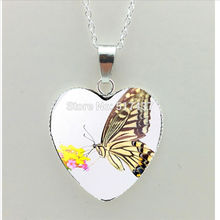 2017 New Elegant Rose Heart Necklace Butterfly Pendant Glass Yellow Flower Jewelry Silver Heart Necklace