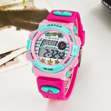 TOP sale 2016 OHSEN brand digital quartz Wrist watch kids girls 50M waterproof pink silicone strap LCD back light alarm clock(China)