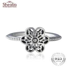 SHEALIA Vintage Floral Daisy Lace Rings For Women 100% 925 Sterling-Silver-Jewelry Brand Logo Wedding Engagement Flower Ring