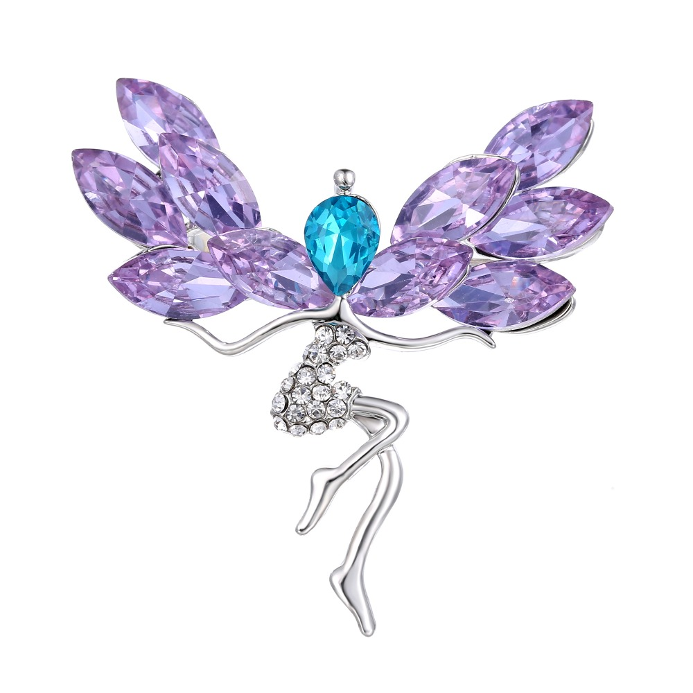 Style 6 Myhouse Wild Flower Shape Rhinestone Long Pin Brooch Enamel Clothes Hats Bags Backpacks Accessories