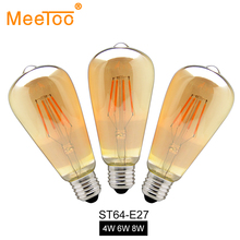 E27 ST64 4W 6W 8W Warm White Dimmable COB LED Filament Retro Edison Bulbs AC 220V 110V Filament Vintage Light 120V 230V 240V