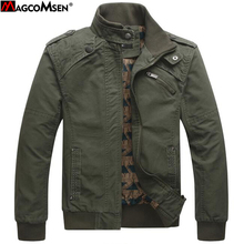 MAGCOMSEN Men's Casual Jackets Cotton Washed Coats Army Military Stand Collar Outerwear Jaqueta Masculina Coat Parka AG-SSYH-01(China)