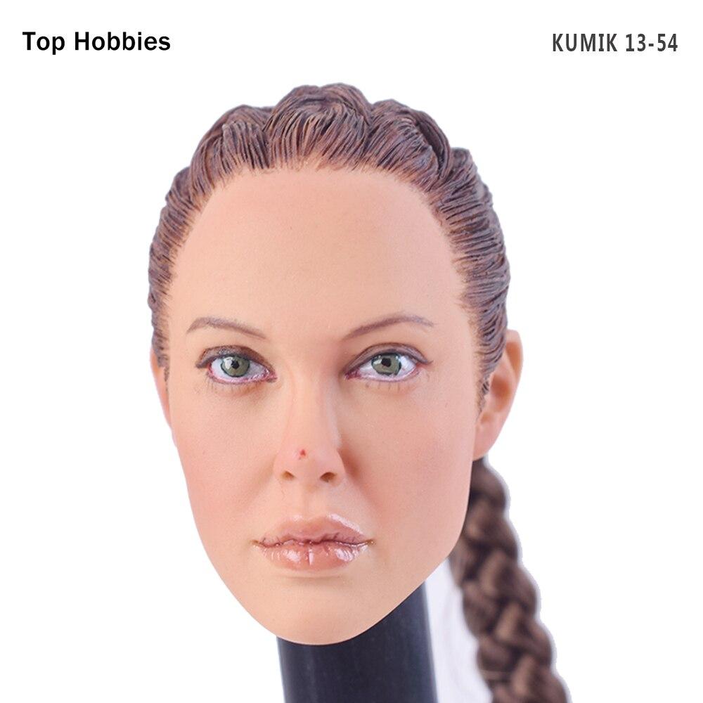 KUMIK 1/6 Female Head Sculpt Girl With Long Hair KUMIK13-54 Girl Carving Model Fit 12 Inch Phicen HT Toys Action Figure<br>