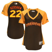MLB Women's Los Angeles Dodgers Clayton Kershaw 22 Brown 2016 All-Star Game Cool Base Batting Practice Player Baseball Jerseys(China)
