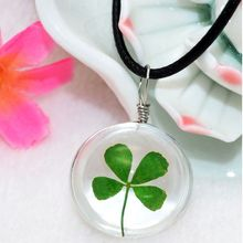 Bespmosp 24PCS/Lot Wholesale Four Leaf Clover Leather Pendant Necklace Glass Bottle Vintage Boho Jewelry Real Plant Women Girl(China)