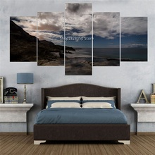 Rushed 5 Panels Canvas Photo Unframed Seacape Landscape Paintings Decoration Ideas For Kitchen Hd Picture Artwork Home Decor(China)