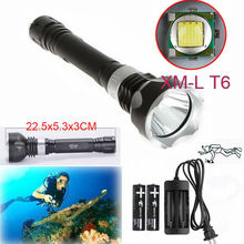 Hot Diving Flashlight 3800LM XM-L T6 LED Waterproof Torch lantern Underwater Dive Lamp Light+2x18650 battery+charger