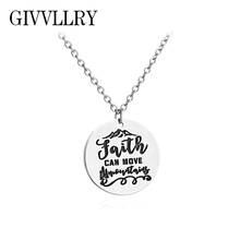 GIVVLLRY Inspirational Necklaces & Pendants for Women Men Punk Letter Faith Can Move Mountain Pendant Necklace for Birthday Gift