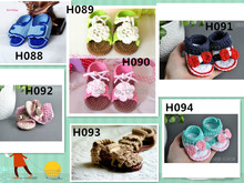 2014 Crochet baby shoes Soft flower white leaves infant knitted first walker shoes toddler(China)