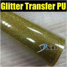 1 Yard Gold glitter heat transfer pu vinyl for garment,cutting plotter transfer glitter pu film with free shipping 50X100CM