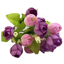 LHBL 15 Heads Artificial Rose Silk Fake Flower Leaf Home Decor Bridal Bouquet Purple