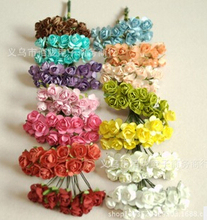 Free Shipping 2-2.5cm head Multicolor Mulberry Paper Flower Bouquet/wire stem/ Scrapbooking artificial rose flowers(144pcs/lot)
