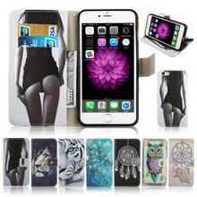 Luxury Fashion Leather Sexy buttocks Tiger Owl Fowers Animal Wallet Card Holder Flip Stand Case Cover for iphone 6 6s Plus 6plus