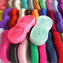 5 yards/color Elastic bands 5/8''Fold Over Elastic Ribbon FOE Sewing Elastic Fabric Garment accessories Hair bow Elastic supply(China)