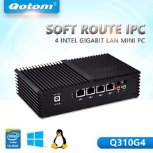 QOTOM Mini PC Barebone 4 lan Celeron  3215U Core i3 Pfsense Firewall Mini Computer X86 Fanless Mini PC Ubuntu Mini Computer