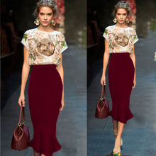 New 2017 Spring summer women High Waist white red long pencil skirt temperament package hip female Mermaid Style long skirts