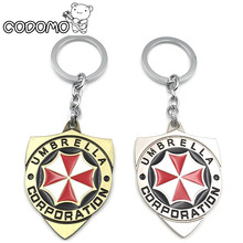 Hot Game Resident Evil 2017 New Movie Umbrella Corporation Logo Metal Keychain Action Figure Toy Bag Pendant Car punk style Toy(China)