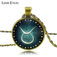 LIEBE ENGEL Zodiac pendant necklace glass cabochon antique Bronze necklace art picture statement necklace Constellation fashion(China)