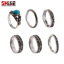 SHIJIE Lovely Vintage Ring Set for Women Turquoises Retro Silver color Ring Men Fashion Jewelry Anillos Bijoux Femme Accessories