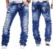2017 Fashion Designer Brand Jeans Straight Men Jeans ripped blue jeans High Quality Printed Fabric Cotton Denim Cozy