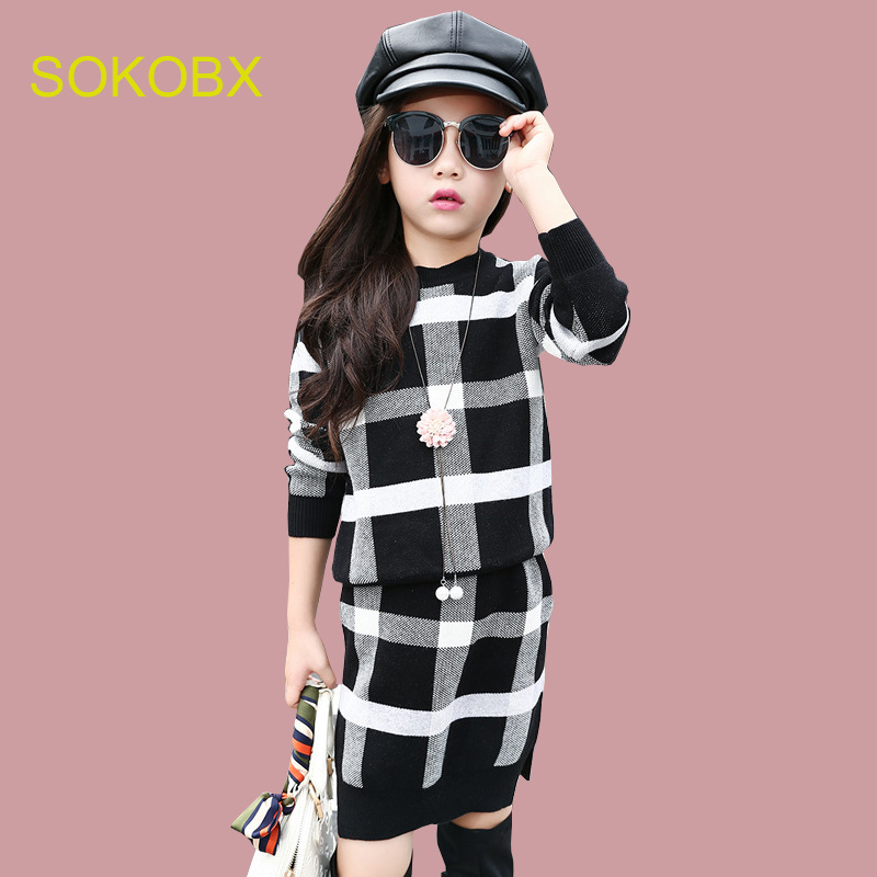 2017 Autumn Winter Girls Clothing sets Girls Clothes Plaid Knitwear Sweater + Dress Children Set Kids Tracksuit Clothes<br>