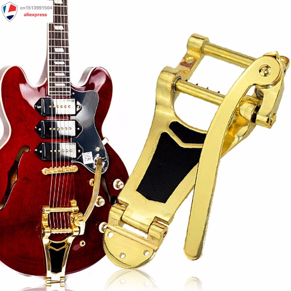Gold Plating Tremolo Vibrato Bridge Tailpiece Hollow body Archtop Guitar 1x Bridge,5x Mounting screws<br>