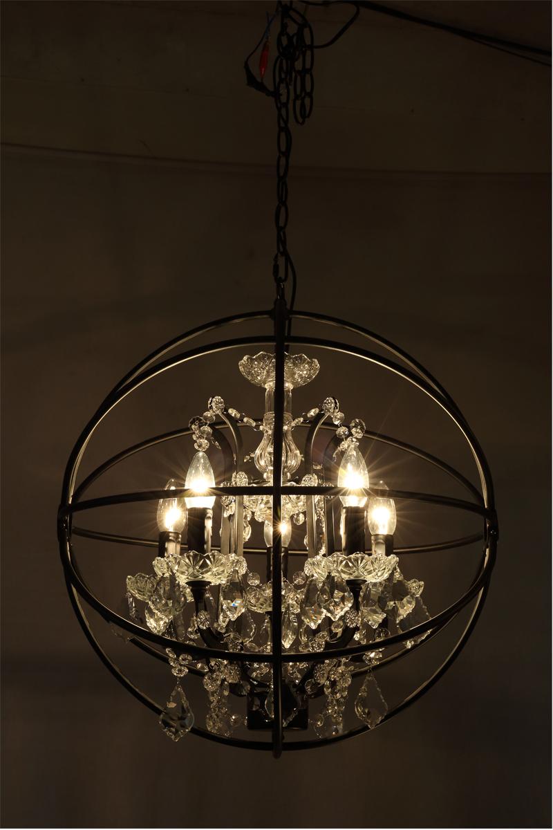 Retro pendant crystal iron ball shape Lamp E14 Nordic industry Vintage Loft american country Art _1Ceiling Lamp-6