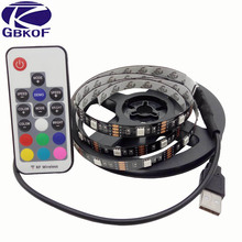 USB LED Strip 5050 RGB TV Background Lighting Kit Cuttable with 17Key RF Controller 0.5M/1M/2M Set,Waterproof or Non waterproof(China)