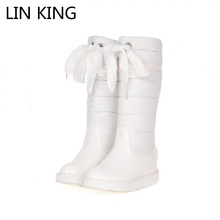 LIN KING Fashion Solid Height Increasing Women Winter Boots Knight Long Boots Slip On Pu Leather Wedge Heels Snow Ski Shoes