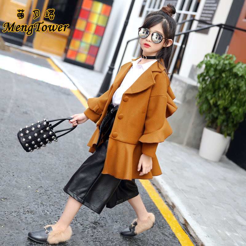 Woolen coat 2017 autumn winter new fashion jacket brand children clothing long outerwear size 4 5 6 7 8 9 10 11 12 years girl<br>