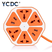 YCDC Home PowerCube Socket EU Plug Outlets 4 USB Ports Adapter Power Strip Extension Cable Adapter Multi Switched USB Socket