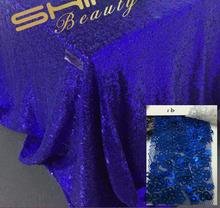 Factory Directly Selling High-end 84'' Square Sparkly Royal Blue Sequin Tablecloth For Christmas Wedding Table Decoration